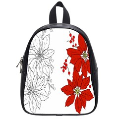 Poinsettia Flower Coloring Page School Bags (Small)
