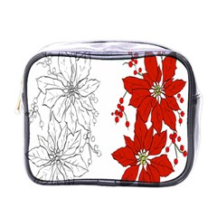 Poinsettia Flower Coloring Page Mini Toiletries Bags