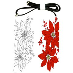 Poinsettia Flower Coloring Page Shoulder Sling Bags