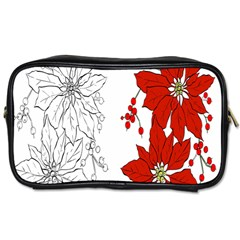 Poinsettia Flower Coloring Page Toiletries Bags 2-Side