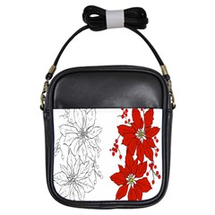 Poinsettia Flower Coloring Page Girls Sling Bags