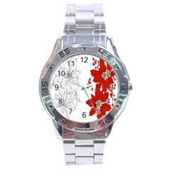 Poinsettia Flower Coloring Page Stainless Steel Analogue Watch