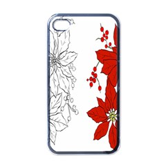 Poinsettia Flower Coloring Page Apple iPhone 4 Case (Black)