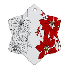 Poinsettia Flower Coloring Page Ornament (snowflake)