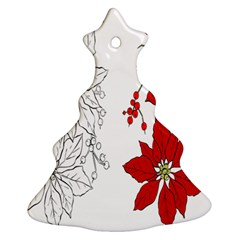 Poinsettia Flower Coloring Page Ornament (Christmas Tree)