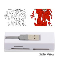 Poinsettia Flower Coloring Page Memory Card Reader (stick)