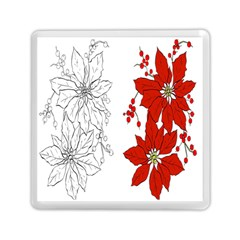 Poinsettia Flower Coloring Page Memory Card Reader (square)