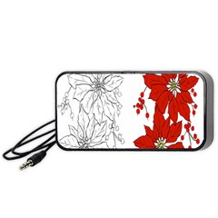 Poinsettia Flower Coloring Page Portable Speaker (Black)