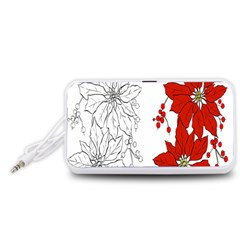 Poinsettia Flower Coloring Page Portable Speaker (White)
