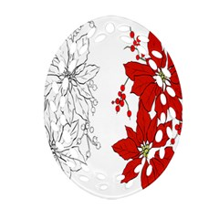 Poinsettia Flower Coloring Page Oval Filigree Ornament (Two Sides)