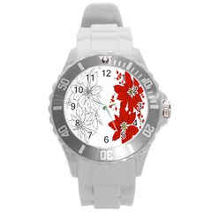 Poinsettia Flower Coloring Page Round Plastic Sport Watch (l)