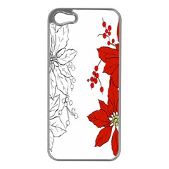 Poinsettia Flower Coloring Page Apple Iphone 5 Case (silver)