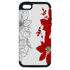 Poinsettia Flower Coloring Page Apple iPhone 5 Hardshell Case (PC+Silicone)