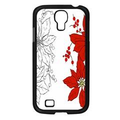 Poinsettia Flower Coloring Page Samsung Galaxy S4 I9500/ I9505 Case (Black)