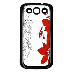 Poinsettia Flower Coloring Page Samsung Galaxy S3 Back Case (Black)