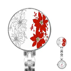 Poinsettia Flower Coloring Page Stainless Steel Nurses Watch