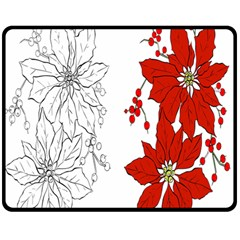Poinsettia Flower Coloring Page Double Sided Fleece Blanket (Medium)