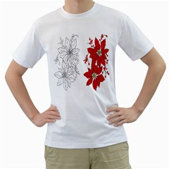 Poinsettia Flower Coloring Page Men s T-Shirt (White)