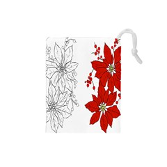 Poinsettia Flower Coloring Page Drawstring Pouches (Small)