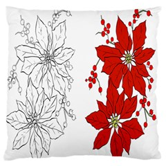 Poinsettia Flower Coloring Page Large Flano Cushion Case (One Side)