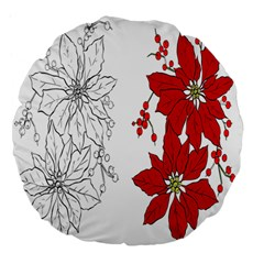 Poinsettia Flower Coloring Page Large 18  Premium Flano Round Cushions
