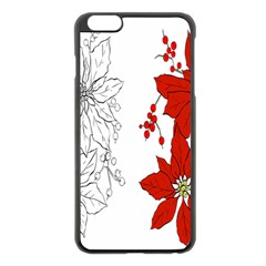Poinsettia Flower Coloring Page Apple iPhone 6 Plus/6S Plus Black Enamel Case