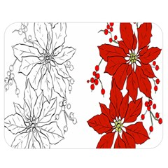Poinsettia Flower Coloring Page Double Sided Flano Blanket (Medium)