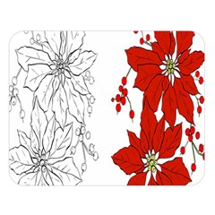 Poinsettia Flower Coloring Page Double Sided Flano Blanket (Large)