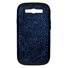 Hexagon1 Black Marble & Blue Stone (r) Samsung Galaxy S Iii Hardshell Case (pc+silicone)