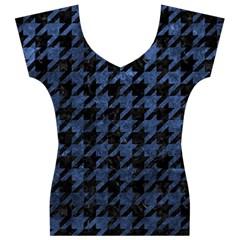 HTH1 BK-MRBL BL-STONE Women s V-Neck Cap Sleeve Top