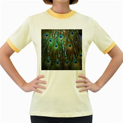 Peacock Jewelery Women s Fitted Ringer T-Shirts