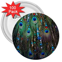 Peacock Jewelery 3  Buttons (100 Pack)