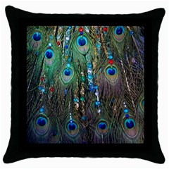 Peacock Jewelery Throw Pillow Case (black)