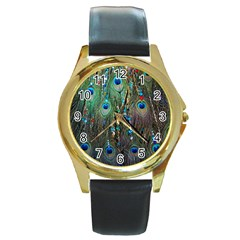 Peacock Jewelery Round Gold Metal Watch