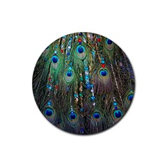 Peacock Jewelery Rubber Round Coaster (4 pack)