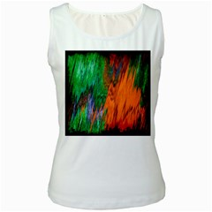 Watercolor Grunge Background Women s White Tank Top