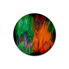 Watercolor Grunge Background Rubber Coaster (Round)