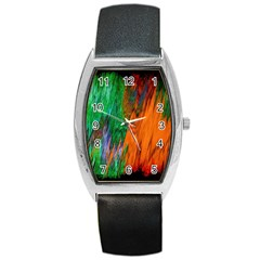 Watercolor Grunge Background Barrel Style Metal Watch