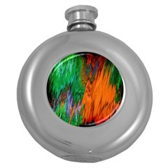 Watercolor Grunge Background Round Hip Flask (5 oz)
