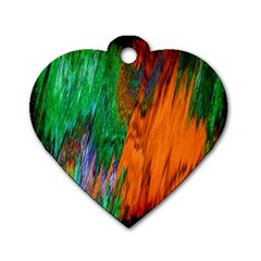 Watercolor Grunge Background Dog Tag Heart (two Sides)