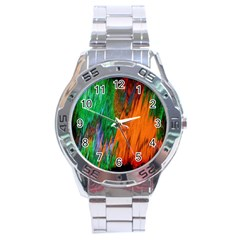 Watercolor Grunge Background Stainless Steel Analogue Watch