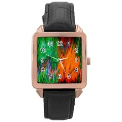 Watercolor Grunge Background Rose Gold Leather Watch