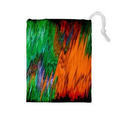 Watercolor Grunge Background Drawstring Pouches (Large)