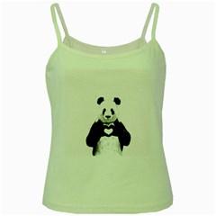 Panda Love Heart Green Spaghetti Tank