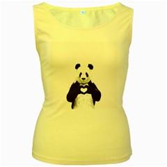 Panda Love Heart Women s Yellow Tank Top