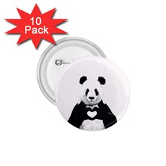 Panda Love Heart 1.75  Buttons (10 pack)