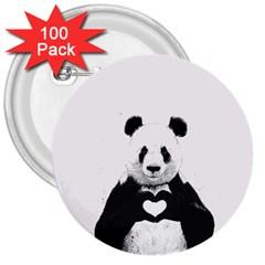 Panda Love Heart 3  Buttons (100 Pack)