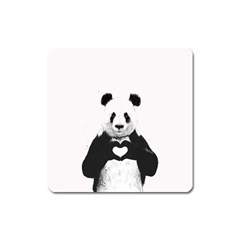 Panda Love Heart Square Magnet
