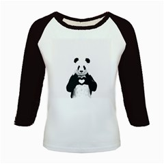 Panda Love Heart Kids Baseball Jerseys