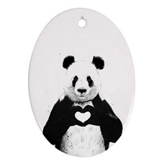Panda Love Heart Oval Ornament (two Sides)